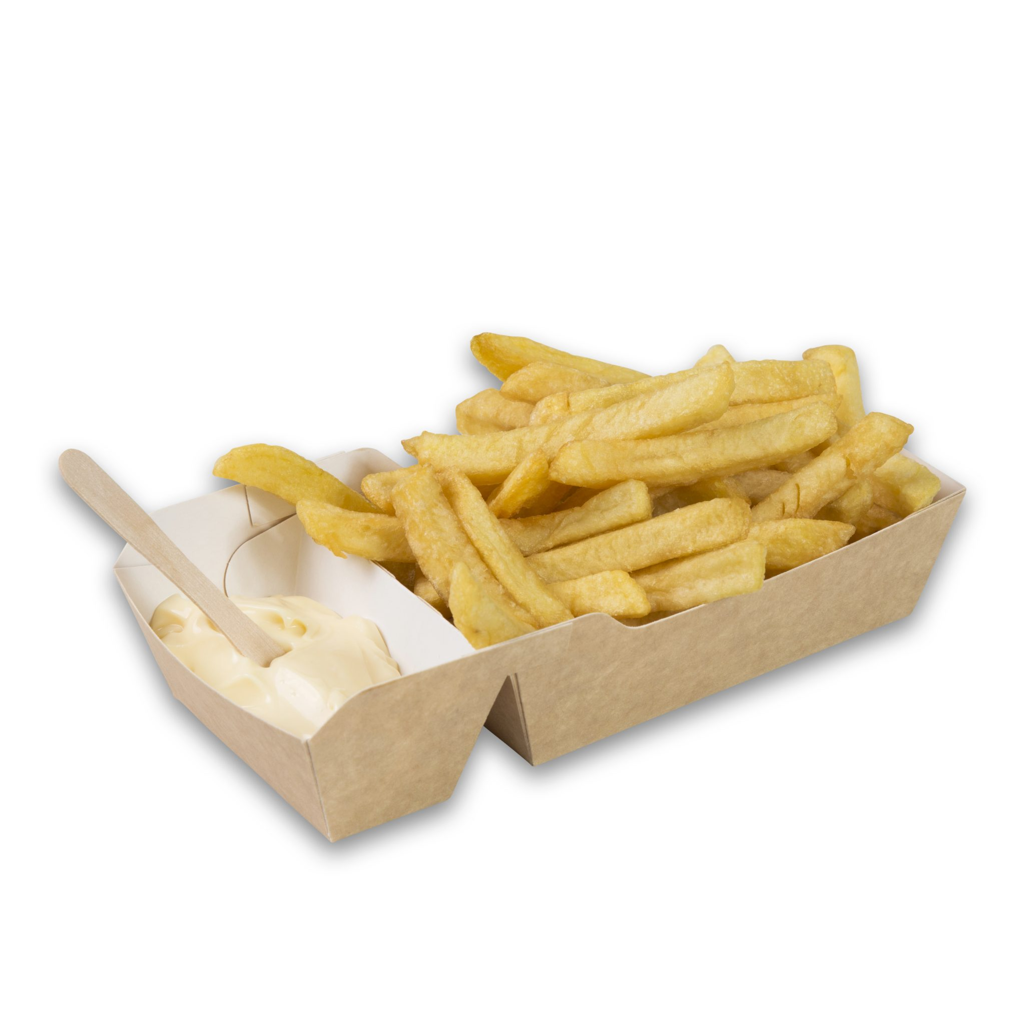 Kraft Karton Frietbakjes met sausvakje M A9+1 110x70x35 snackverpakking medium