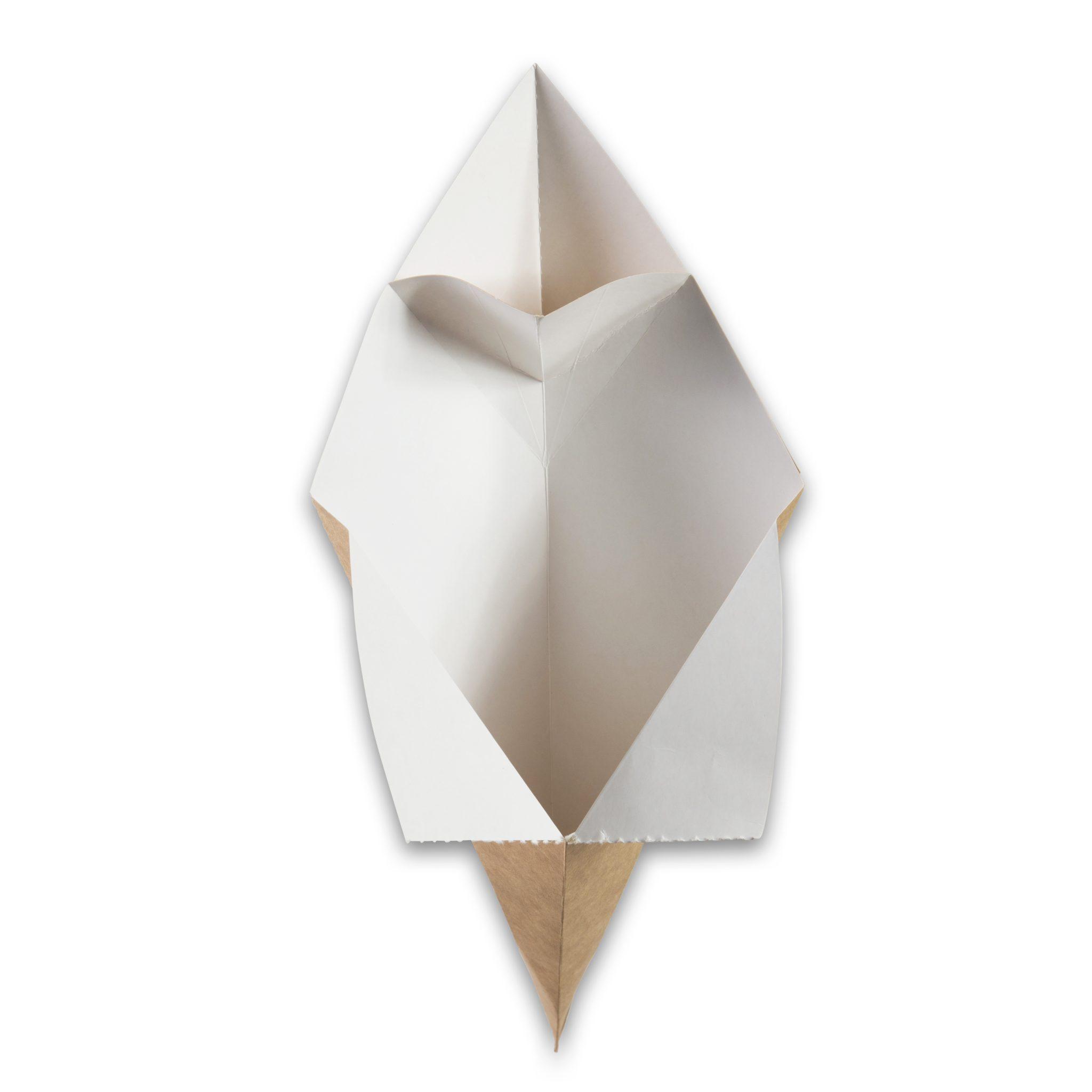 Kraft karton Frietzak met sausvak small 212x164x141 mm snackverpakking Chip 'n Dip klein (2)