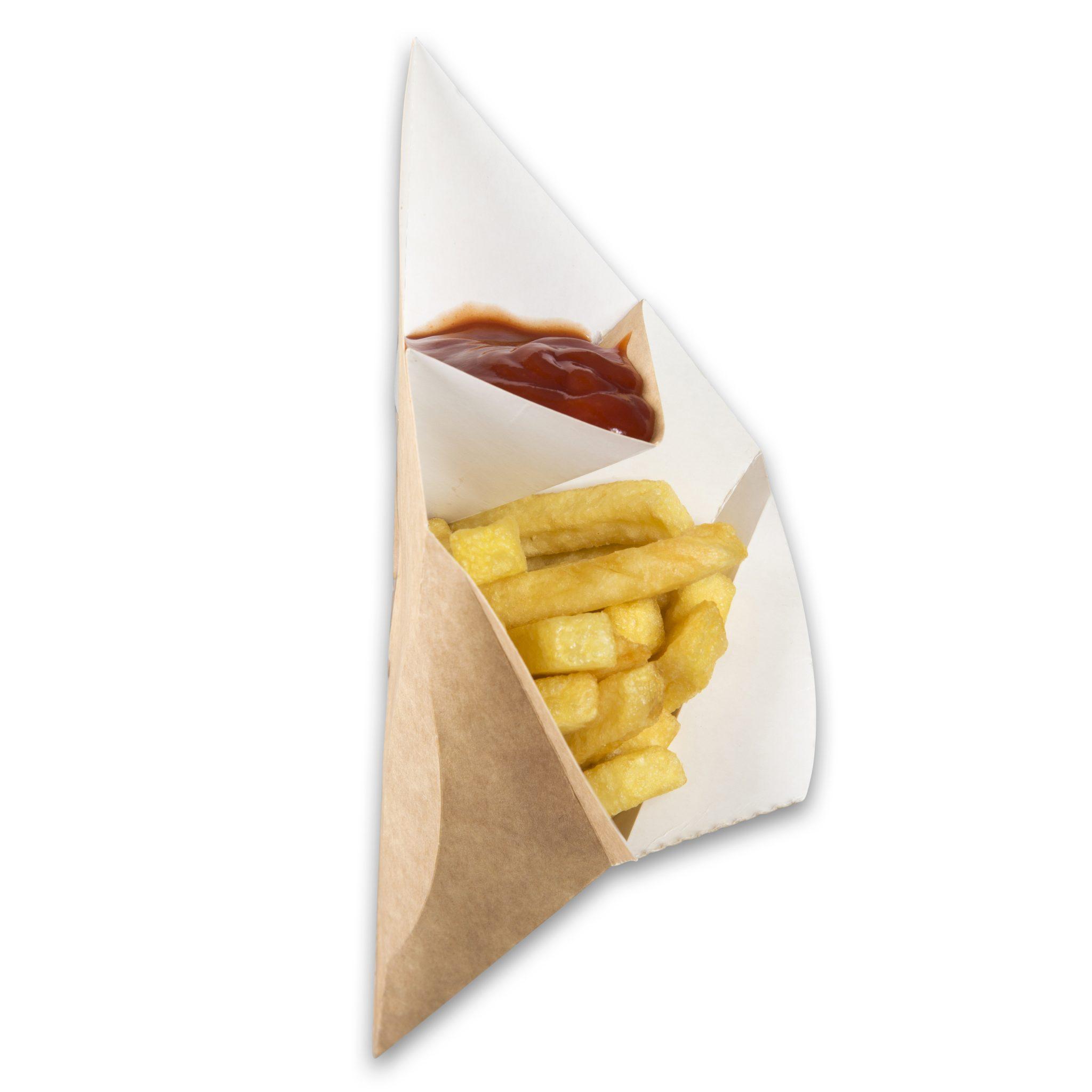 Kraft karton Frietzak met sausvak small 212x164x141 mm snackverpakking Chip 'n Dip klein (4)