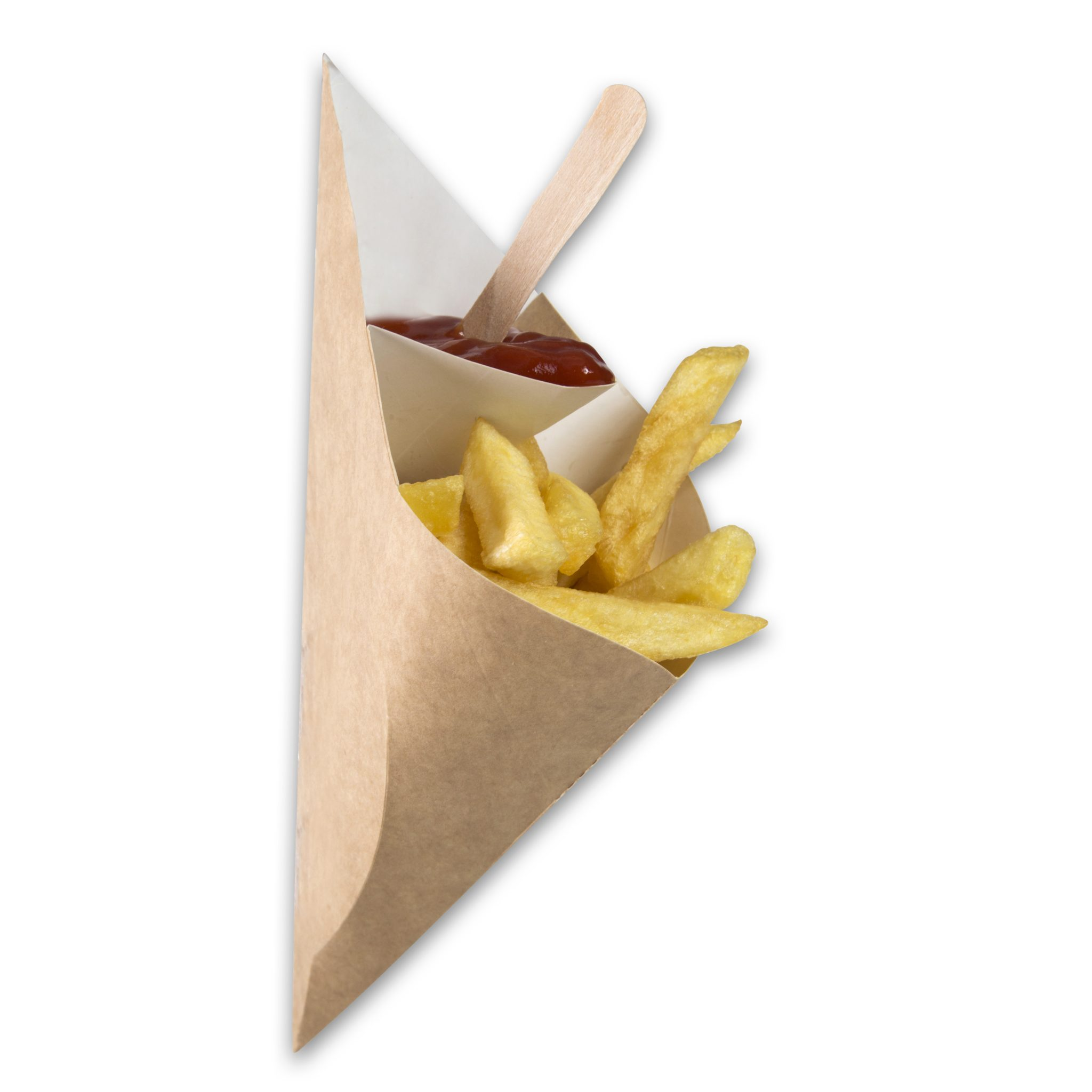 Kraft karton Frietzak met sausvak small 212x164x141 mm snackverpakking Chip 'n Dip klein (5)