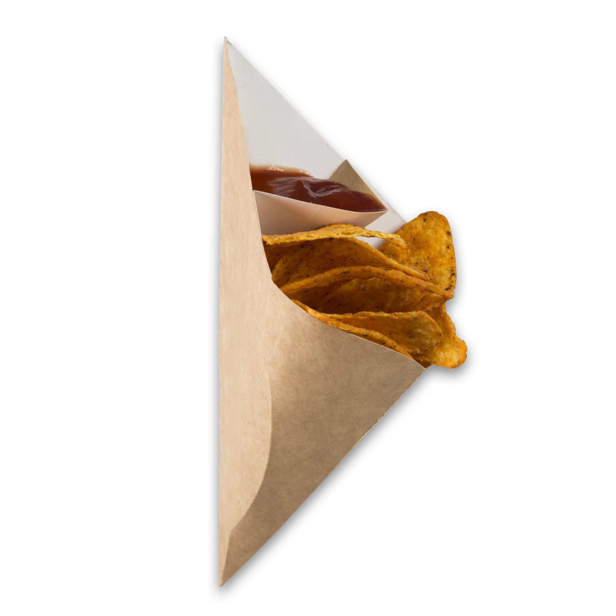 Kraft karton Frietzak met sausvak small 212x164x141 mm snackverpakking Chip 'n Dip klein (6)