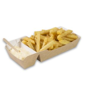 Kraft karton frietbakje met sausvakje large A9+1 130x70x35 Snackverpakking groot