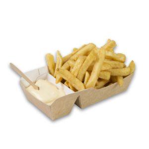 Kraft karton frietbakjes met sausvak small 90x70x35 mm snackverpakking klein