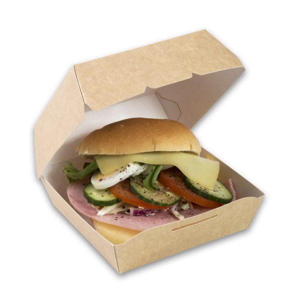 Kraft karton hamburgerbakje small 90x90x70 mm snackverpakking klein